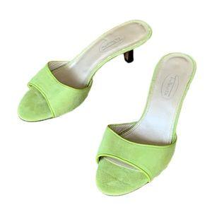 Lime green suede slip on kitten heels 6 1/2 M